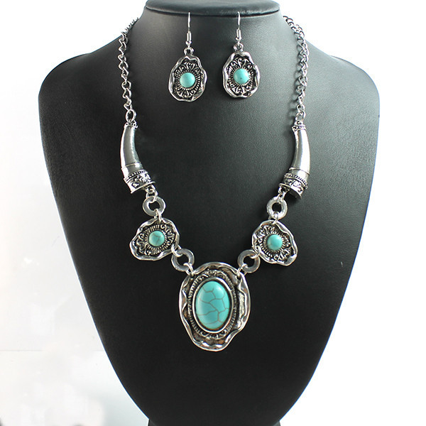 2015 Factory wholesale fashion silver plated turquoise jewelry set