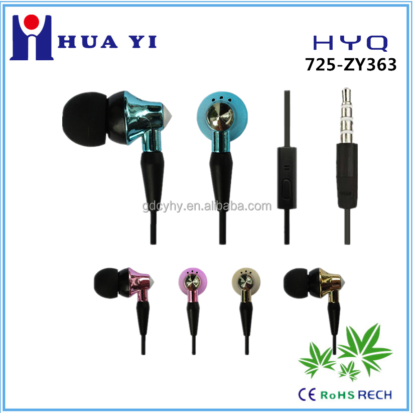 New arrive cheap metallic plating stereo earbuds with mic for MP3/4, ipod, PC, mobile