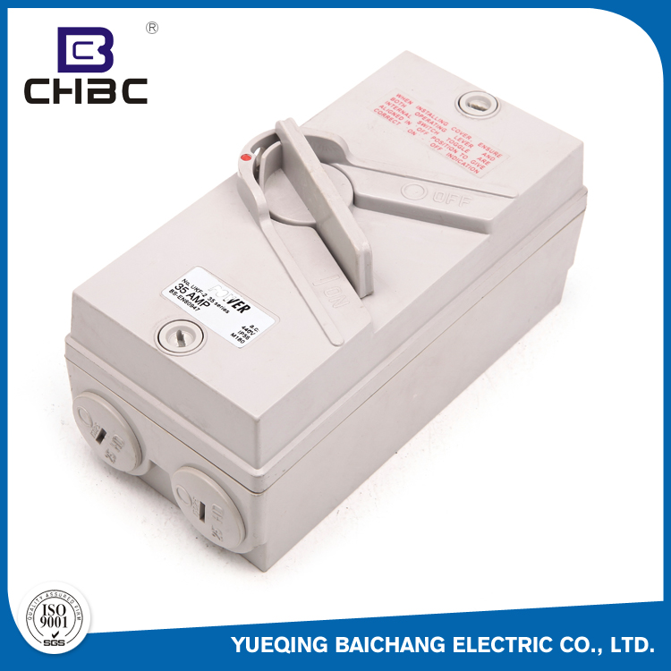 CHBC 162*80mm Size IP56 Waterproof Electrical Changeover Isolating Switch