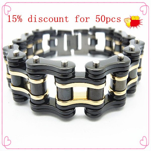 Most popular mens black plated stainless steel motorcycle/bicycle chain bracelet wholesale jewelry stainless steel 316