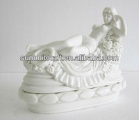Custom polystone white lady statue for garden decoration