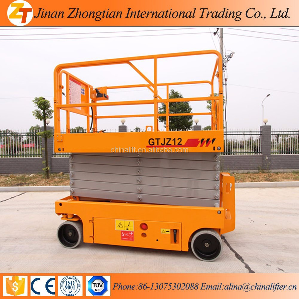auto- propulsado elevador de tijera plataforma Battery hydraulic self-propelled scissor lift platform used for indoor outdoor