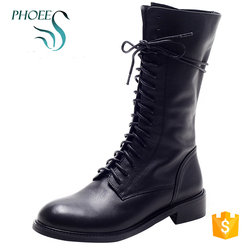 Phoees Women's Low Heel Casual Lace Up Fahion Classical Martin Leather Boots