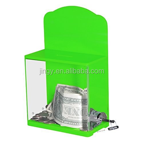 China factory direct green acrylic charity collection box