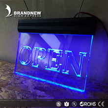 Gold Factory Supply High Quality Lighting Colors Selectable Led Lighted Edge-lit Acrylic Open Closed Window Sign