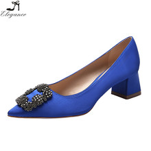 crystal royal blue womens luxury wedding party chunky low heeled rhinestone pumps dress shoes bulk wholesale