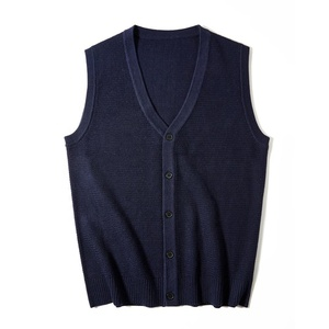 Wholesale Good Quality Color Knitted V neck Vest Sleeveless Wool Men Sweater Vest