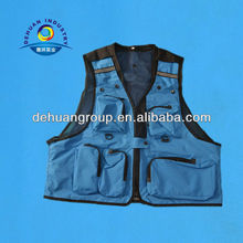 Thin blue mesh inner fishing life vest