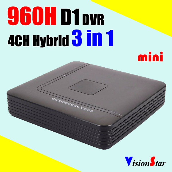 Small Mini plastic case 4ch H.264 DVR NVR HVR 960H D1 hybrid CCTV Digital Video Recorder P2P Cloud RJ45 Network Mobile view
