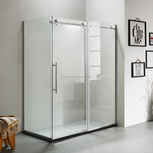 304 stainless steel frame 3 panel sliding bath tempered glass shower door