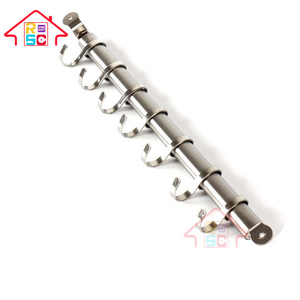 20Inch Polished Bar Hanging Hooks Pots Storage Kitchen Spoons Rack with 7 S Hooks