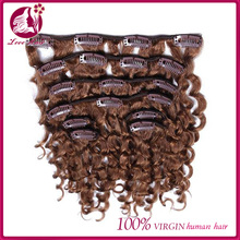 Clip In Human Hair Extensions 7pc Natural Brazilian 7A African American Curly Clip In Human Hair Extensions for black women
