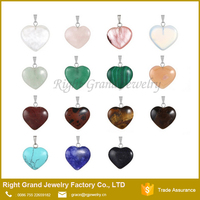 Heart Shape Gemstone Chakra Reiki Beads Pendants Charms for Necklace Making