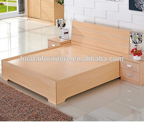Modern Hot Sale Plywood Double Bed With Storage Plywood