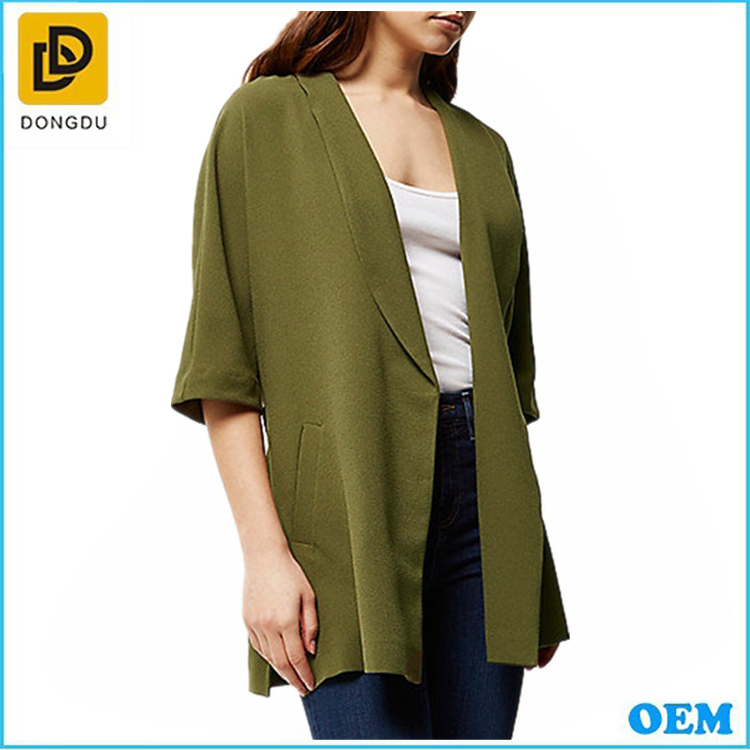 Whoeslae OEM open front oversized Khaki belted kimono design jacket for women
