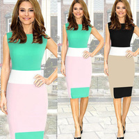 2015 New fashion knee-length bodycon slim pencil party dress OL women ladies office dress