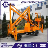 Small boom lift for worker aerial working platform arm lift