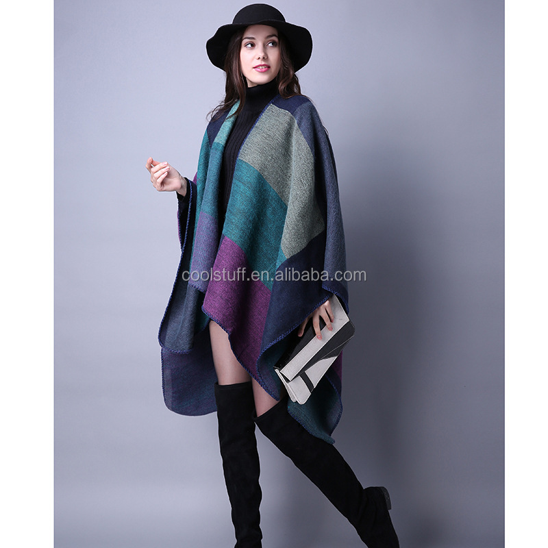 Blanket Open Front Poncho Ruana Knit Cardigan Sweater Shawl Wrap Many Styles
