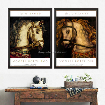 New 2 Pieces Modern Wall Art Abstracttree horse with Acrylic glass frame for living room art hotel decoration