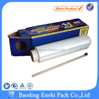 China Top 5 Honest Manufacturer 8~20 micron Food Grade PE Cling Film with Cutter Box