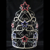 fashion metal silver plated stars shape large pageant crown