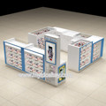 Shopping mall cell phone display counter white color cell phone accessories kiosk design for sale