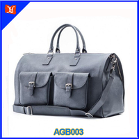 High Quality Genuine Leather Suitcase Leather Weekender Garment Duffel Bag