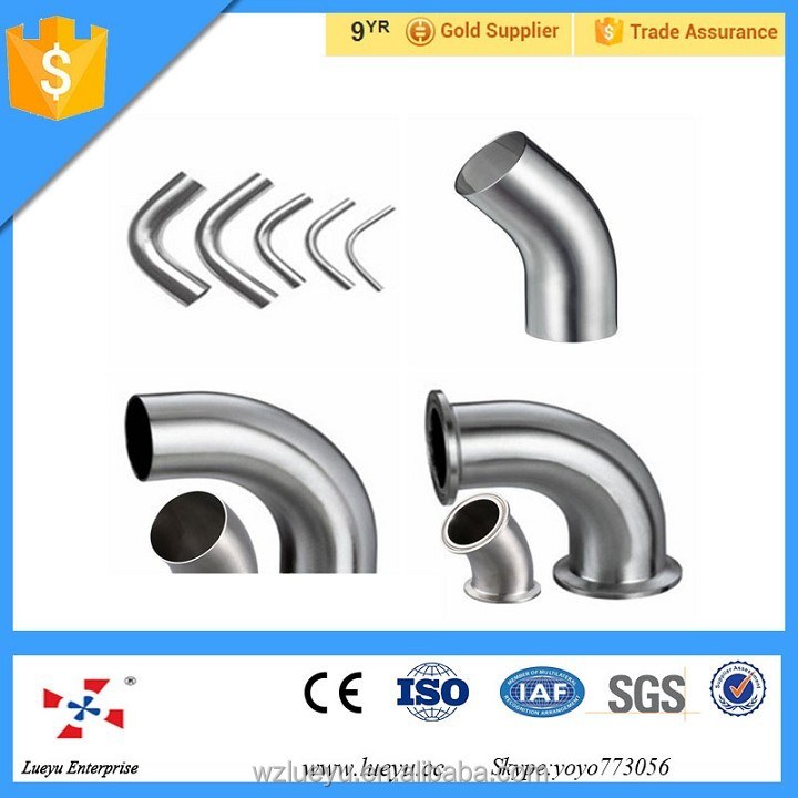pipe fittings Sanitary 90 Degree Elbow Welding Short,90 degree welded elbow with straight ends,90 degree clamped elbow ,