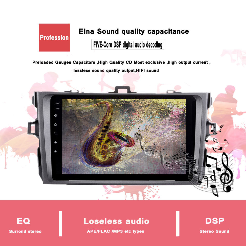 C700 Android 7.1 car head unit pc tablet multimedia for Toyota Corolla 2007 2008 2009 2010 2011 1024*600 car stereo radio