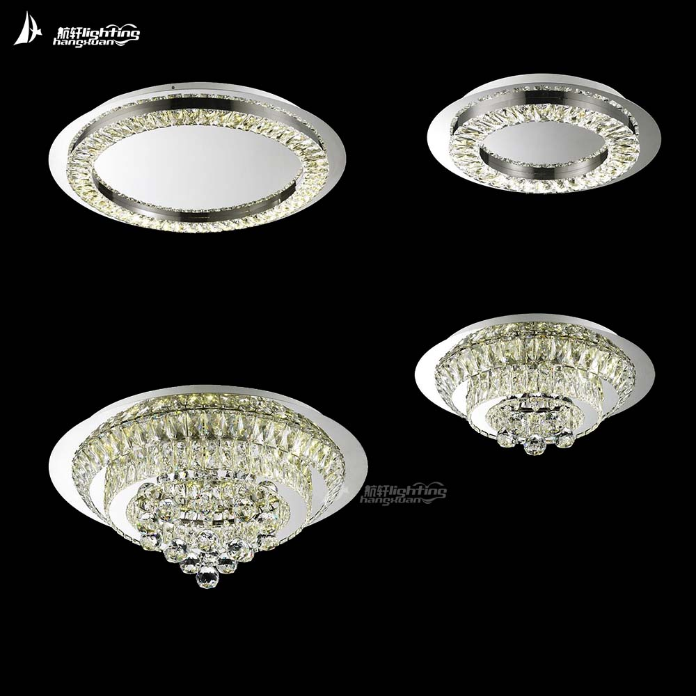 Contemporary iron round crystal chandelier ceiling light hotel lamp