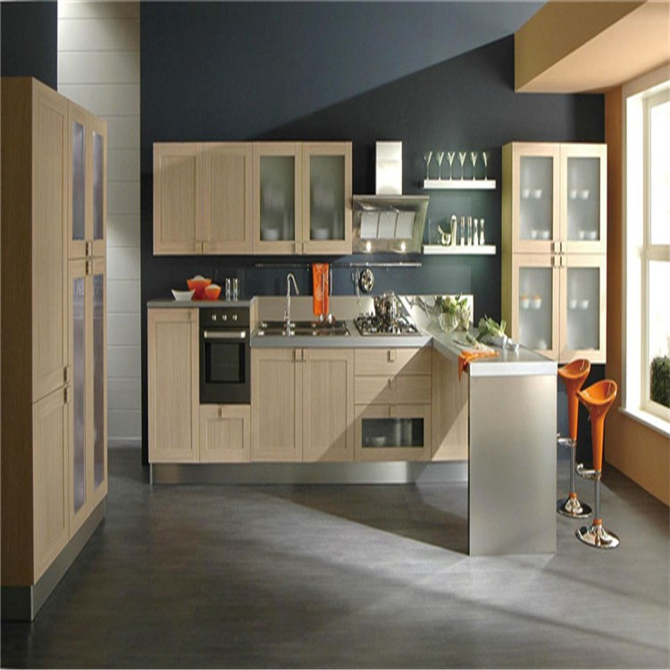 Modern cherry finished display wooden kitchen cabinet for sale