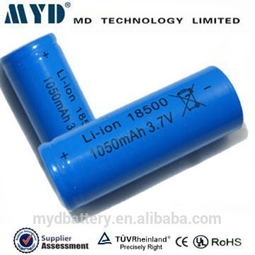Top quality of icr 18500 3.7v 1050mah video camcorder batteries (other capacity is available)