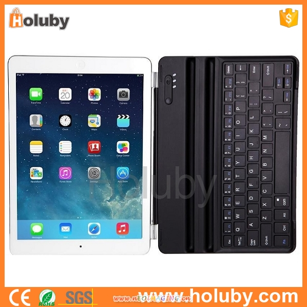 For iPad ultra Slim Aluminum Bluetooth Wireless Keyboard Case Cover for Apple New iPad Air+bluetooth wireless keyboard