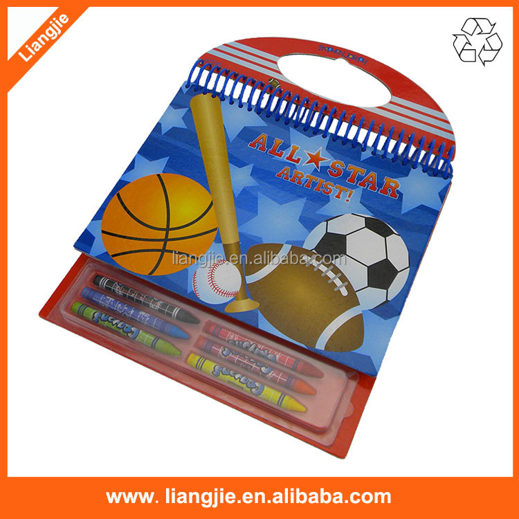 Cartoon plastic rings notebook with 6 crayons for Kids painting Gifts
