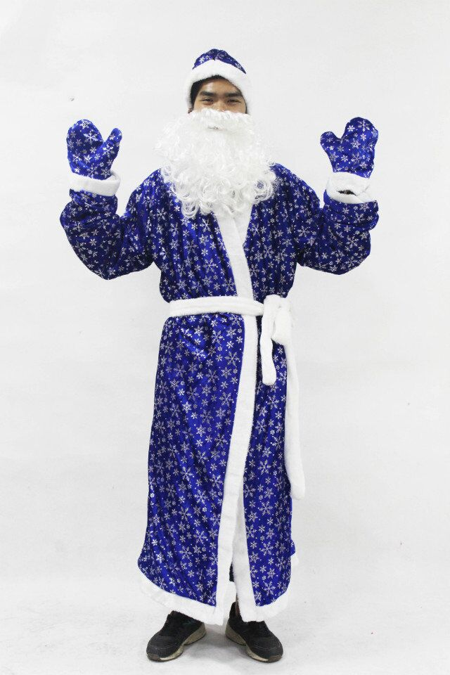 HI CE wholesale dancing christmas santa claus adult costume blue snowflakes style suitable for men
