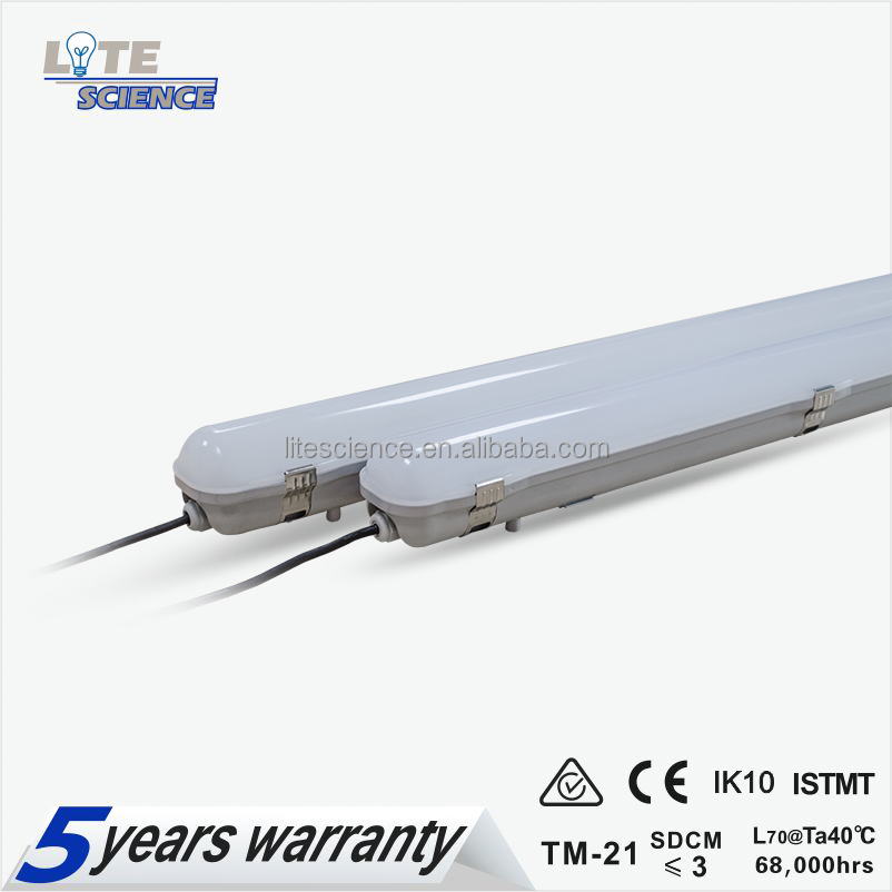 IP65 IK10 40W 125lm/w led triproof light, PC Cover+PC Base tri-proof light, Hongli 2835 led with LM80