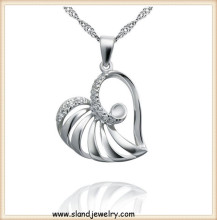high quality factory direct price hollow three-dimensional floating heart pendant sterling silver jewellery wholesale from China