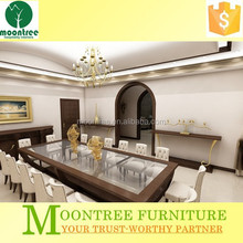 Moontree MDT-1174 big 16 seaters wooden glass top dining table
