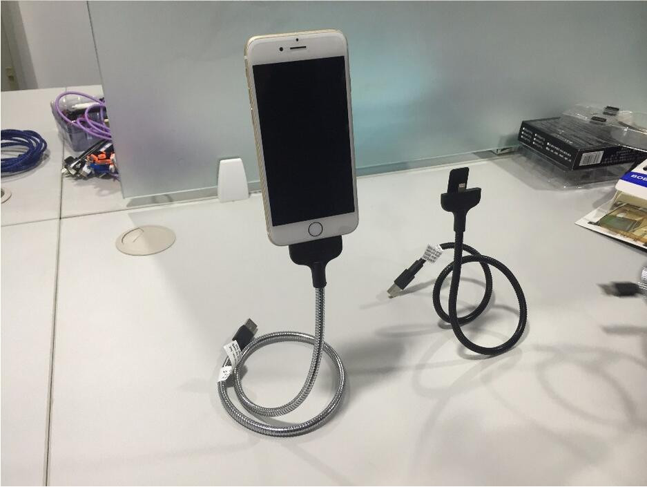 Multi-function Phone Cable Phone charger car dock flexible stand up cable for MFi cable ios series and android phone type-c