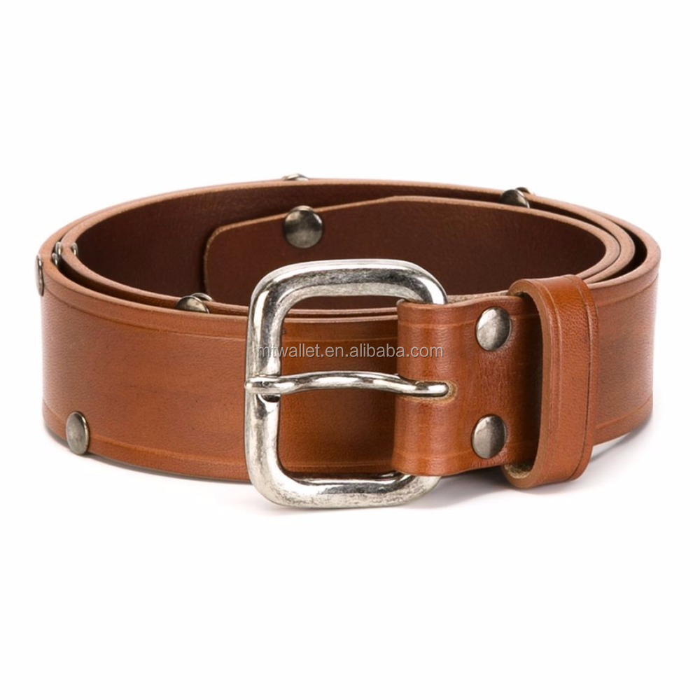 Appealing funky second layer genuine leather and brass buckle belt, leather mens belt decorated rivets handmade 100% Guangzhou
