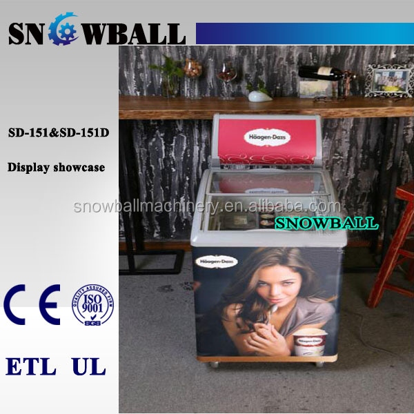 CE,ETL,UL approved sliding glass door chest freezer refrigerated ice cream showcase