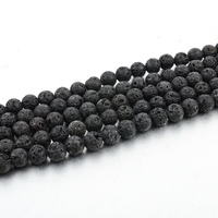 Volcanic Black LAVA Rock Stone, 8mm Round Ball Natural Gemstone Beads