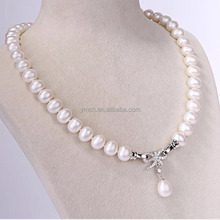 high quality butterfly freshwater pearl necklace with drop pearl button for women