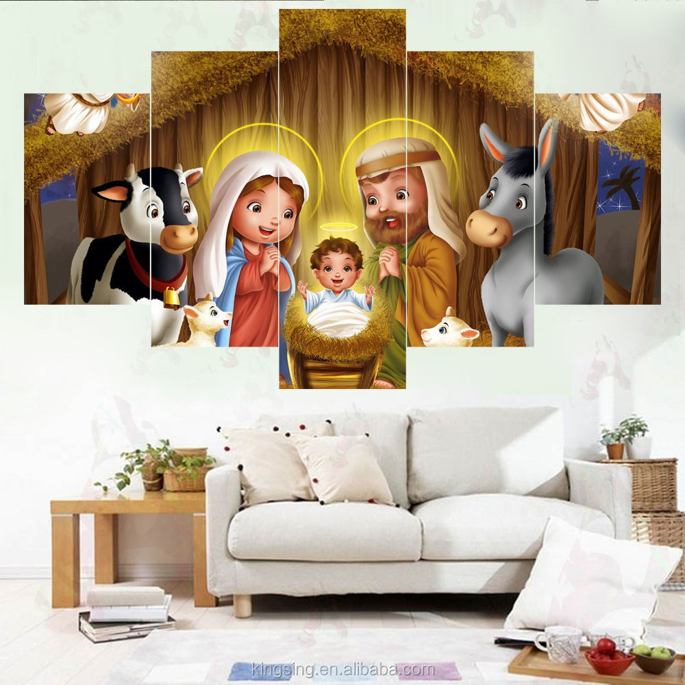 Hotel New Decor 3d home goods Wall Fine Art Painting With Wood Frame Multi-panel Christmas oil painting on canvas