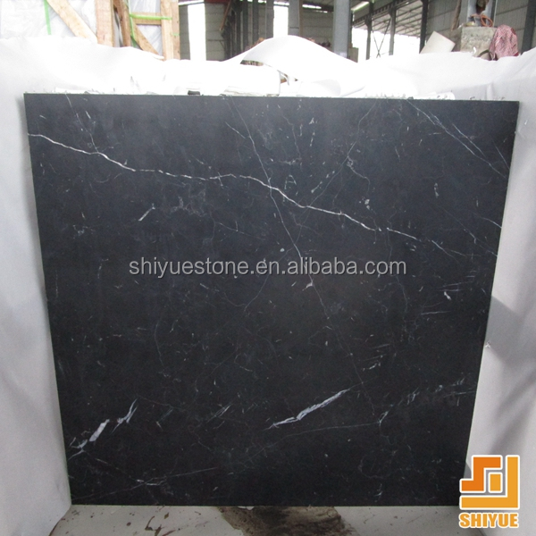China Nero Margiua marquina black marble tile with white veins honed Tile