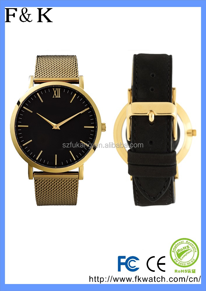 Fukang New arrival classic leather watch Zinc Alloy case customize logo watch