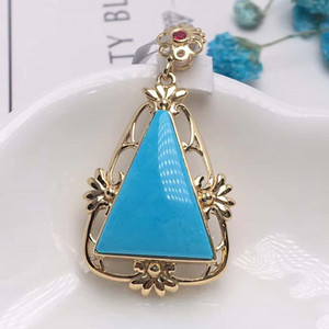 fashion latest product 18k gold Hubei China natural blue-green turquoise necklace pendant for female