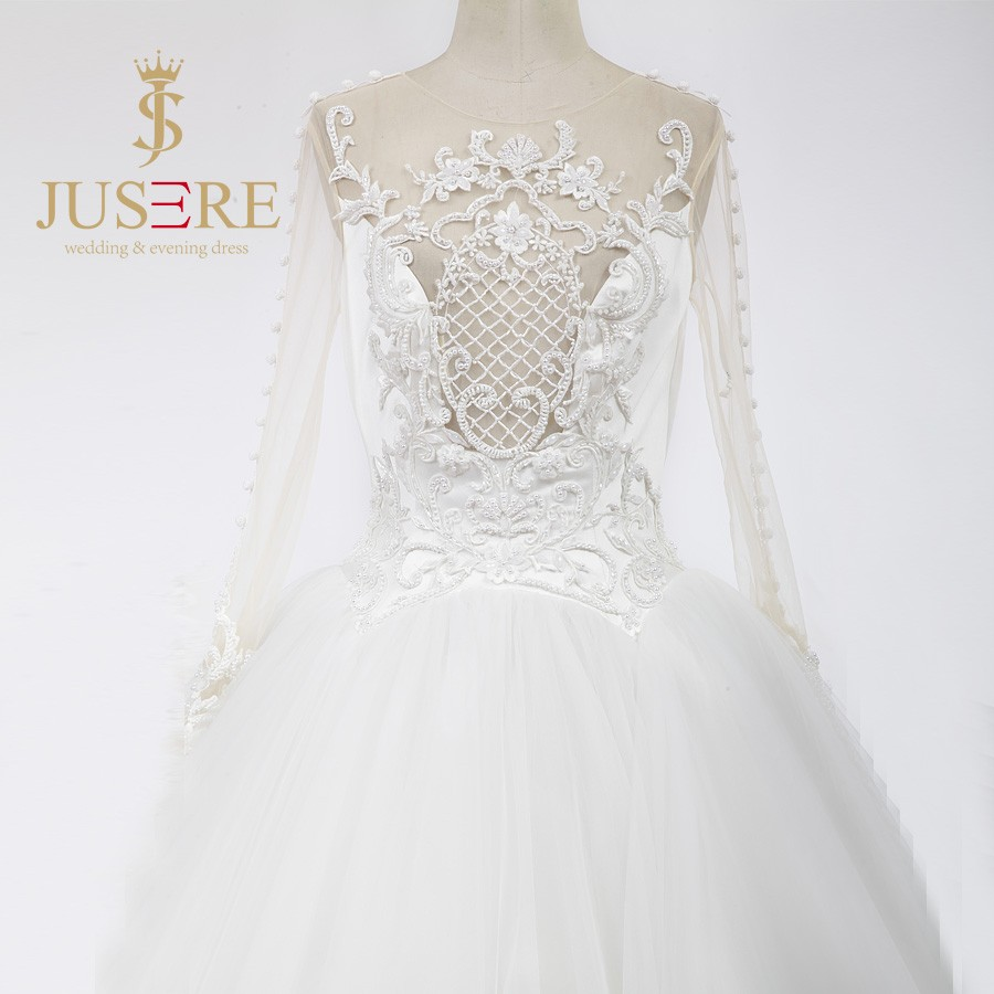 Newest Illusion Bodice Pearls 3D Beaded Scoop Sheer Back Buttons Up Long Sleeves Ivory Tulle Wedding Ball Gowns 2016