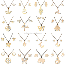 Cheap price stainless steel earrings and pendant dubai gold jewelry set