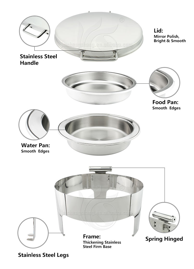 Stainless Steel Hotel Service Chafing Dish Buffet with Hinge
